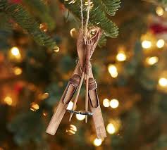 wooden skis ornament pottery barn