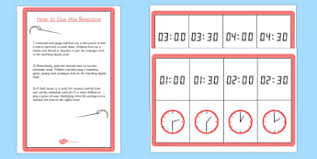 time primary resources clock o u0027clock half past page 21