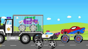 monster truck videos kids police truck and spiderman monster truck chasing jocker kids