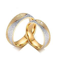 wedding rings steel images Tang couple engagement ring for women men sand blasted gold color jpg