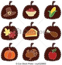 vector clipart of set of quilted thanksgiving icons nine