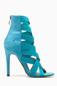 turquoise faux suede multi strap single sole heels cicihot heel