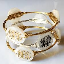monogrammed bracelet monogram bangle wire bracelet w engraved acrylic monogram