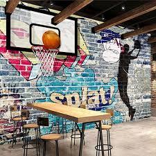 custom mural wallpaper abstract graffiti art brick wall basketball wall painting backdrop decorative pictures wall living