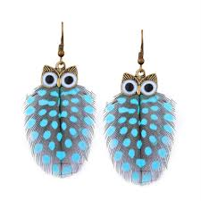 hook earrings earrings light blue alloy owl feather fish hook earrings gamiss