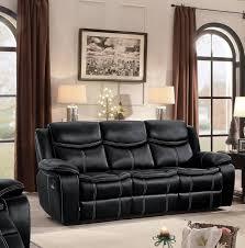 homelegance bastrop double reclining sofa black leather gel