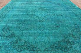 Rugs With Teal Oriental 10x13 U0027 Teal Blue Overdyed Floral Hand Knotted Wool Area