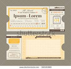 vector train ticket wedding invitation design stock vector