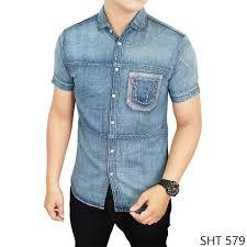 Baju Levis Biru baju lengan pendek sht 579 kemeja pria terbaru batik
