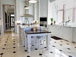 kitchen floor tile patterns black polished wood island white
