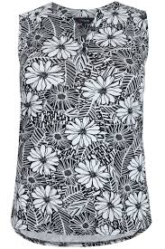 Online Home Decor Websites by Black U0026 White Floral Print Sleeveless Blouse Plus Size 16 To 32