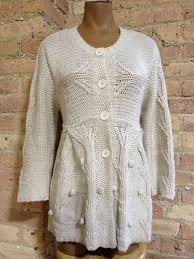 bcbg max azria beige crochet cardigan size x large popcorn knit