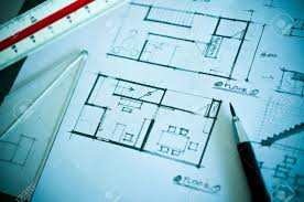 work of interior design concept and drawing tools stock photo