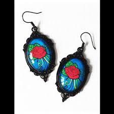 rockabilly earrings glass cameo rockabilly earrings tattoo on blue