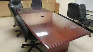 8 Foot Conference Table by 8 U0027 X 4 U2033 Cherry Boat Shaped Glass Top Conference Table