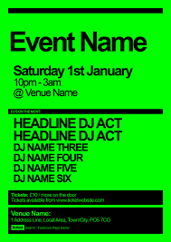 dayglo poster template for a club event free poster templates