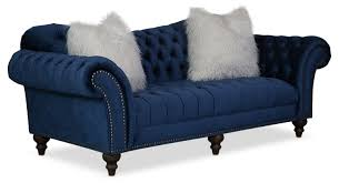 Blue Chaise Brittney Sofa Loveseat And Chaise Set Navy American Signature