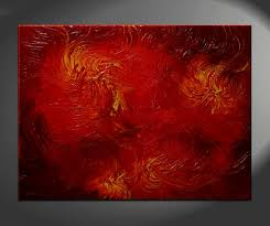 huge red abstract painting textured wall art by nathalievan
