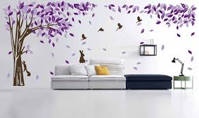 living room living room wall murals with purple leaves on tree