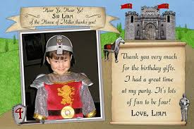 knight in shing armor birthday party thank you cards
