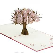 pop up tree blossom tree pop up card custom 3d card supplier charm pop