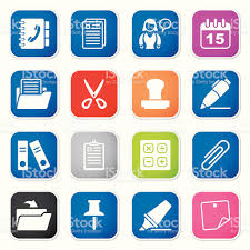 office contacts icon set ii sq stickers stock vector art 165597141
