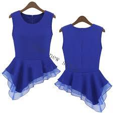 s fitted blouses 2015 top design peplum irregular sleeveless frill