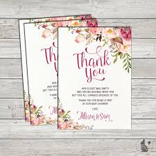 Thank You Cards For Baby Shower Gifts - bohemian floral thank you card boho baby shower printable