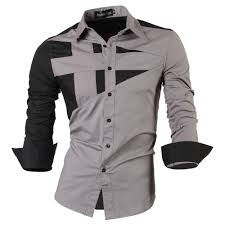 long sleeve men double color stitching design shirt man dress