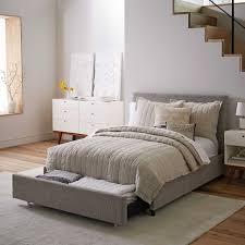 West Elm Headboard Contemporary Upholstered Storage Bed Deco Weave West Elm