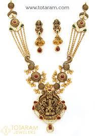 antique necklace images 22k gold long 39 lakshmi 39 antique necklace drop earrings set with jpg