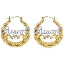 name plate earrings fingerhut 18k gold plated silver bamboo name hoop earrings