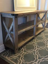 rustic x console table rustic x console do it yourself home projects from ana white diy