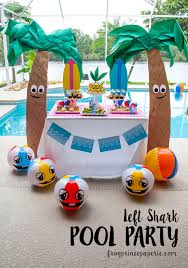 pool party ideas left shark pool party ideas on a budget frog prince paperie