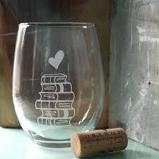 book lover wine glass engraved stemless wine glass books u0026