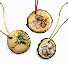 i love resin flower fairies wood slice ornaments