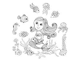 free coloring page coloring mermaid and fishes by amalga