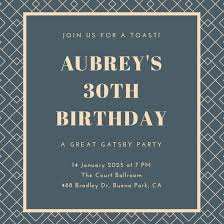 great gatsby invitation templates canva