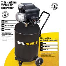 21 gal 2 5 hp 125 psi cast iron vertical air compressor central