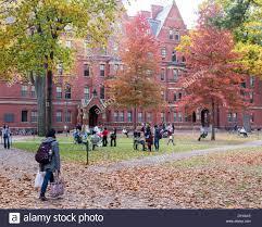 Fall Flags Yard Harvard Yard Old Heart Of Harvard University Campus On A