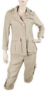 yoana baraschi yoana baraschi khaki safari pant suit size 4 s tradesy