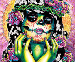 day of the dead pin up with sugar skull by neverdieart