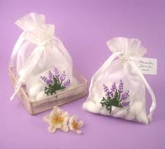 organza favor bags lavender embroidered organza bags garden theme wedding favors