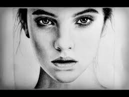drawn women face pencil and in color drawn women face