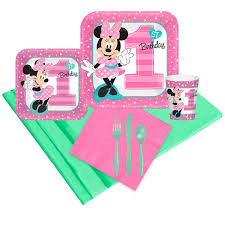 minnie mouse 1st birthday disney minnie mouse 1st birthday 16 guest party pack jcpenney