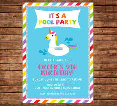 Invitation Card For Pool Party Unicorn Float Swim Swimming Pool Party Beach Birthday
