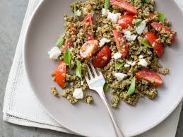 pesto bulgur salad with tomatoes basil and feta recipe todd