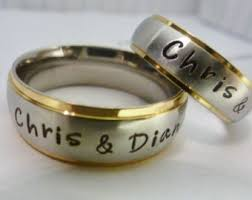 wedding rings with names matching promise rings etsy