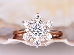 bridal rings images Vintage floral moissanite engagement ring 6 5mm round cut jpg