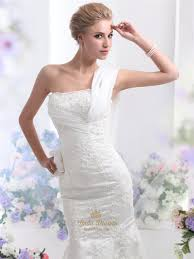 ivory lace applique one shoulder mermaid wedding dress with long